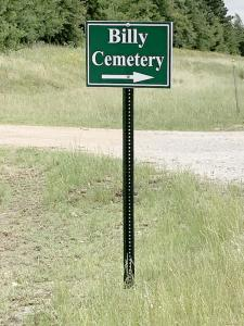 BILLY CEMETERY SIGN